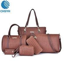 6pcs/set Women Fashion Wheat Spike Crossbody Portable Bags Ladies  Designer Panelled Handbags Tote for