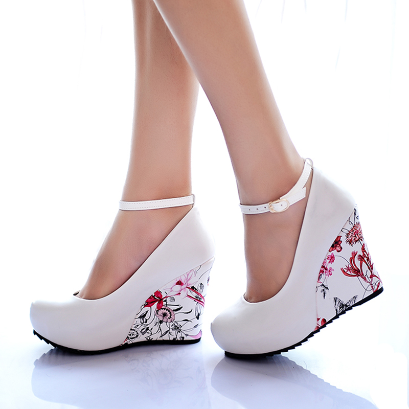 KarinLuna large Sizes 34-43 Wedges High Heels Party wedding Pumps shoe Flower Print Platform Ankle-Strap Women Shoes Woman pumps цена