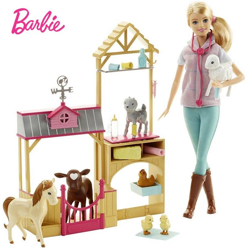 Original Neue Barbie Puppe Bauernhof Veterinär Geschenk Set Barbie Prinzessin Mädchen Kleid Up Kleidung Spielzeug Geburtstag Geschenk Oyuncak DHB71