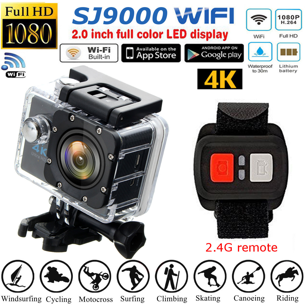 SJ9000R HD 1080P Wifi Sport DV Camera Camcorder With Remote Control 16 Megapixel Wide Angle