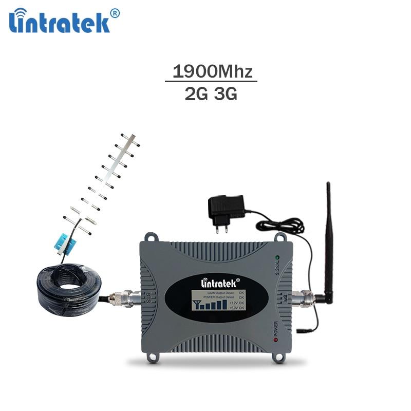 Lintratek Repetidor 3G 1900Mhz Celullar Signal Repeater 65dB 3G Signal Booster 2G 3G 1900 Band 2 Repetidor Amplificador GSM #8.7