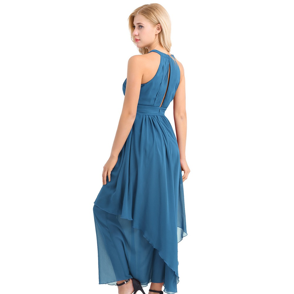 iEFiEL Women Ladies Sleeveless Halter Chiffon Elegant Long Dresses ...