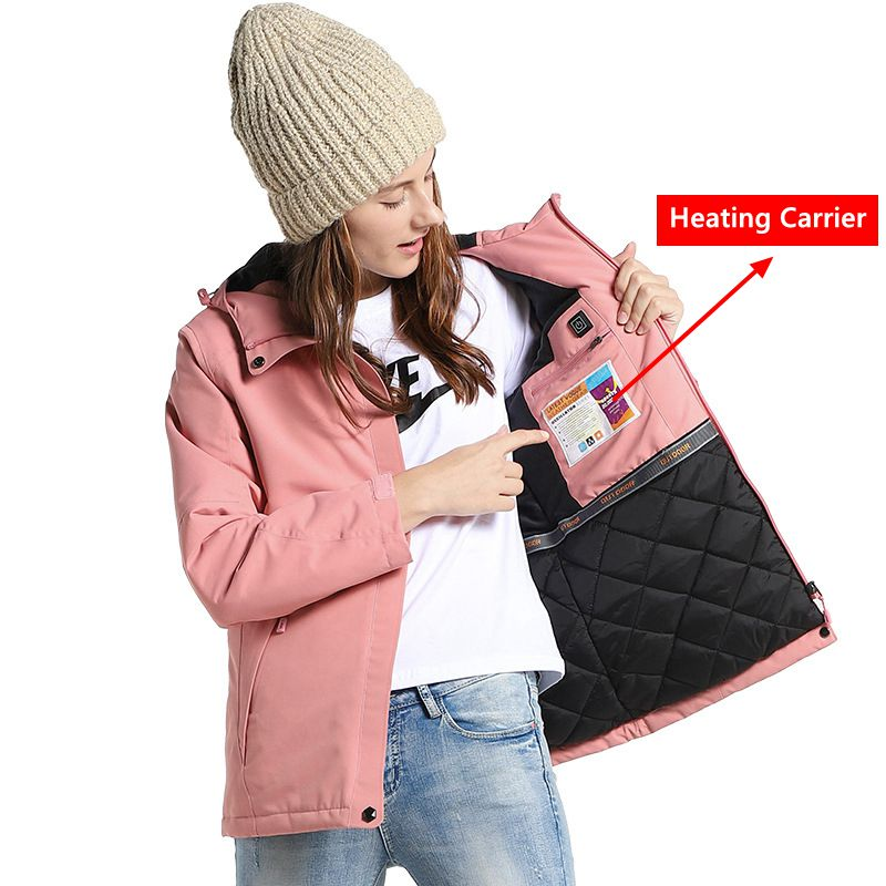 USB Heated Jacket Women&men Winter Thermal Jacket Outerwear Waterproof Windbreaker   Parka   Women Keep Warm Winter Coat Women Men