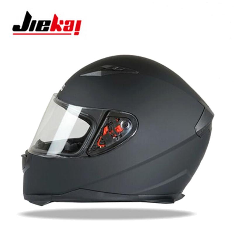 2017 Autumn Winter New JIEKAI Full Face Motorcycle Helmet ABS motorbike helmets with PC lens visor and Collar size M L XL XXL