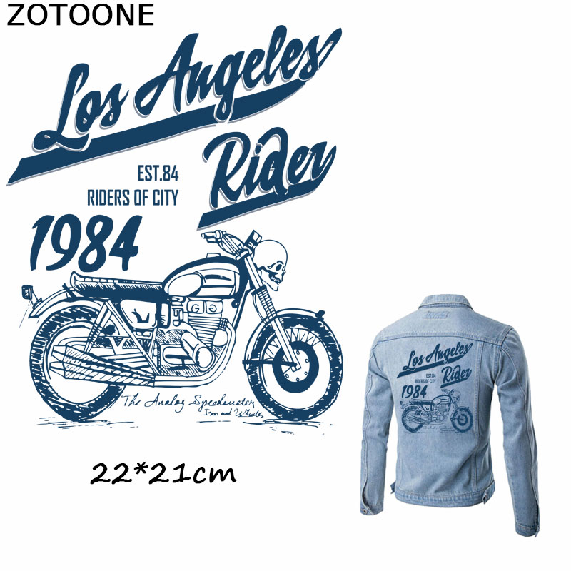 ZOTOONE Punk Rock Bike Patch Large iron on transfer Motorcycle Iron On Patches For Clothes Jeans Vest Jacket Back E