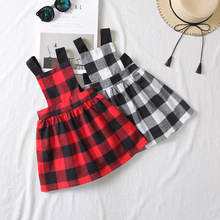 Baby Girls Dress Autumn lattice Style Red and black Print Party Backless Dresses For Girls Vintage Toddler Girl Clothing 2-6Yrs