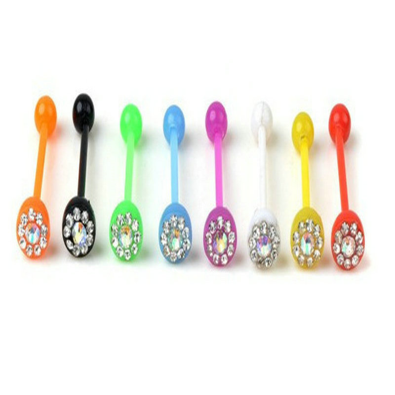 Popular tongue rings clear buy cheap tongue rings clear for Plastic cheek piercing jewelry