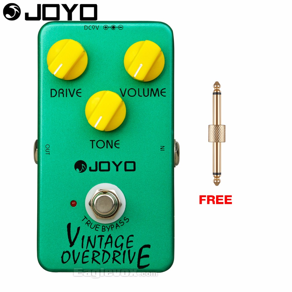 Joyo Vintage Overdrive Electric Guitar Effect Pedal True Bypass JF-01 with Free Connector mooer green mile overdrive guitar effect pedal micro effectstrue bypass with free connector and footswitch topper