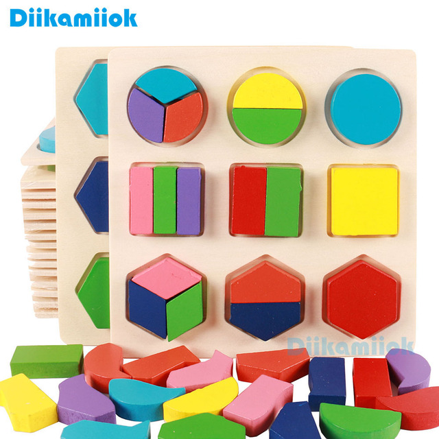 Hot Baby Early Educational Montessori Wooden 3D Puzzle Toys Children Geometric Shape Color Learning Toy for Kids Jigsaw E-JY015