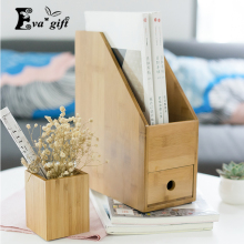 New bamboo file Box with drawe for Office book Organizer Container Case Wooded Storage holder book rack Desktop finishing Box