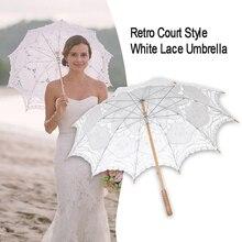 Sombrilla sombrilla Parasol Encaje Vintage para decoración de boda sombrilla de encaje beige blanco para fotografía