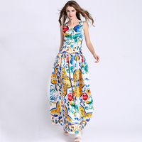 Print Dress 2016 Summer Fashion Elegant Sleeveless Blue And White Porcelain Print Slim Maxi Long Dress
