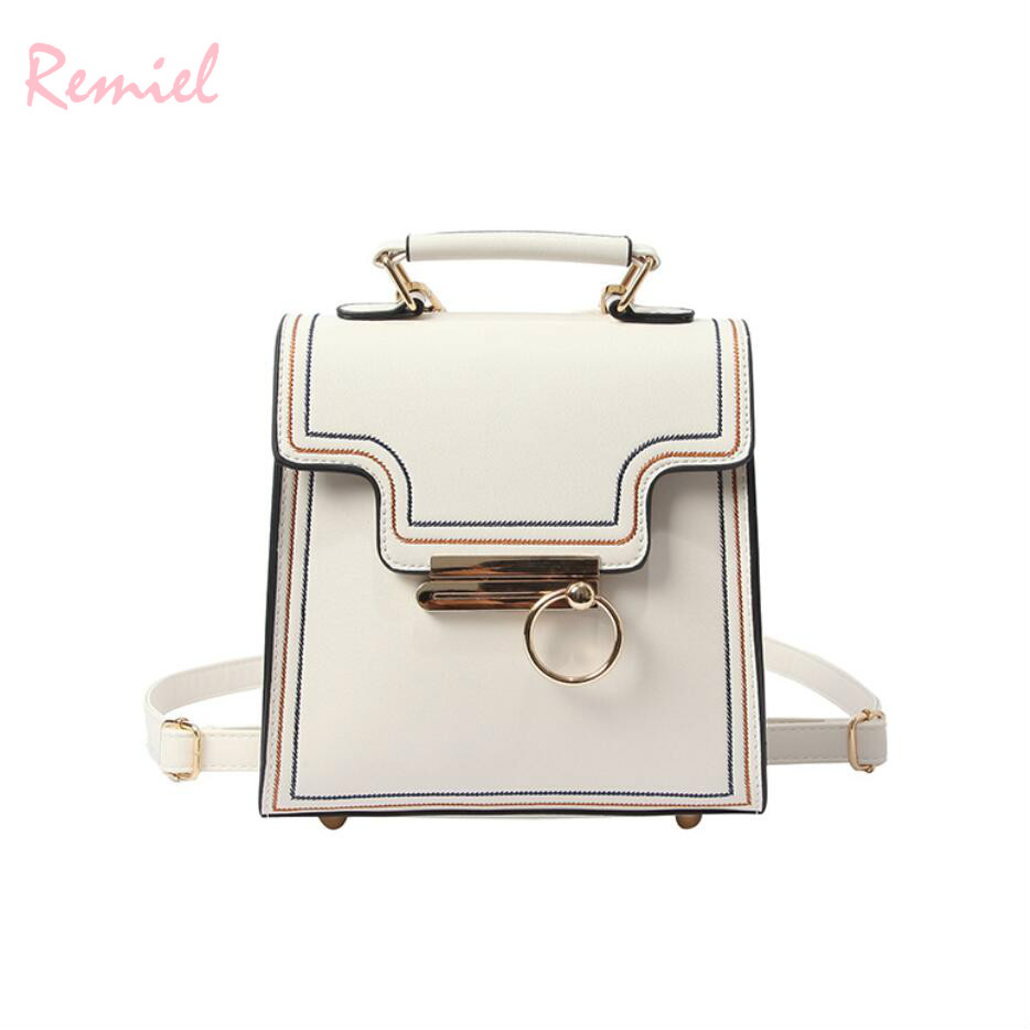 2018 New Retro Fashion Women Backpacks High quality PU Leather Lock Small Backpack Travel Books Rucksack Simple School Backpacks
