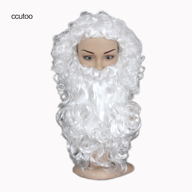 ccutoo Santa Claus White Short Wavy Christmas Halloween Party Cosplay Costume Wigs Heat Resistance Synthetic Full Hair Wig +Bear
