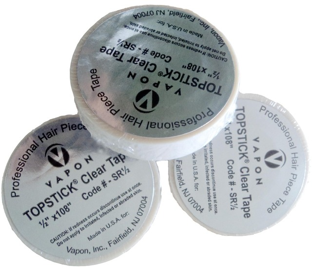 """VAPON TOPSTICK  CLEAR TAPE  1/2"""" x 108"""" super quality tape for wigs   wig tape hair tape"""