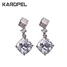Elegant Female Square Crystal Zircon Stone Earrings Fashion Jewelry  Gift Vintage Stud Earrings For Women cuteeco 2019 new tree of life zircon stud earrings elegant brand earrings for women fashion jewelry accessories gift