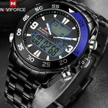 NAVIFORCE мужская мода спорт двойной дисплей часы из нержавеющей стали ремешок черный корпус 30 М водонепроницаемый кварцевые часы reloj hombre