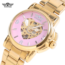 Hot Sell 2016 Automatic Watch Women Winner Brand Watch Fashion Luxury Brand Strap Sport Mechanical Clock Women Gold Watches