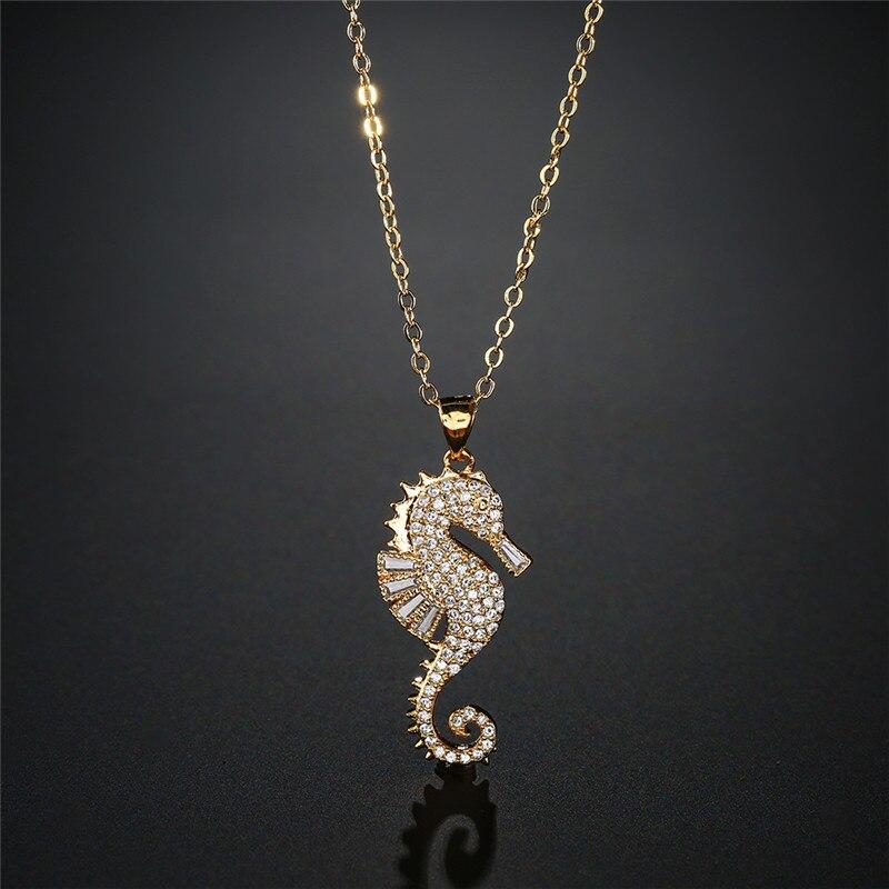 Newbuy Hohe Qualität Kupfer Seepferdchen Anhänger Halskette Für Elegante Frauen Klar Zirkonia Inlay Weibliche Partei Schmuck 4 Farben