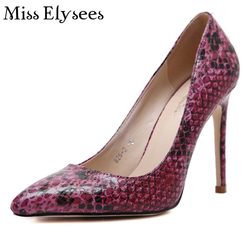 2017 Woman Sexy Snake Skin Prints High Heels Shoes Spring Summer Pointed Toe Slip On Thin Women Pumps Plus Size35-40