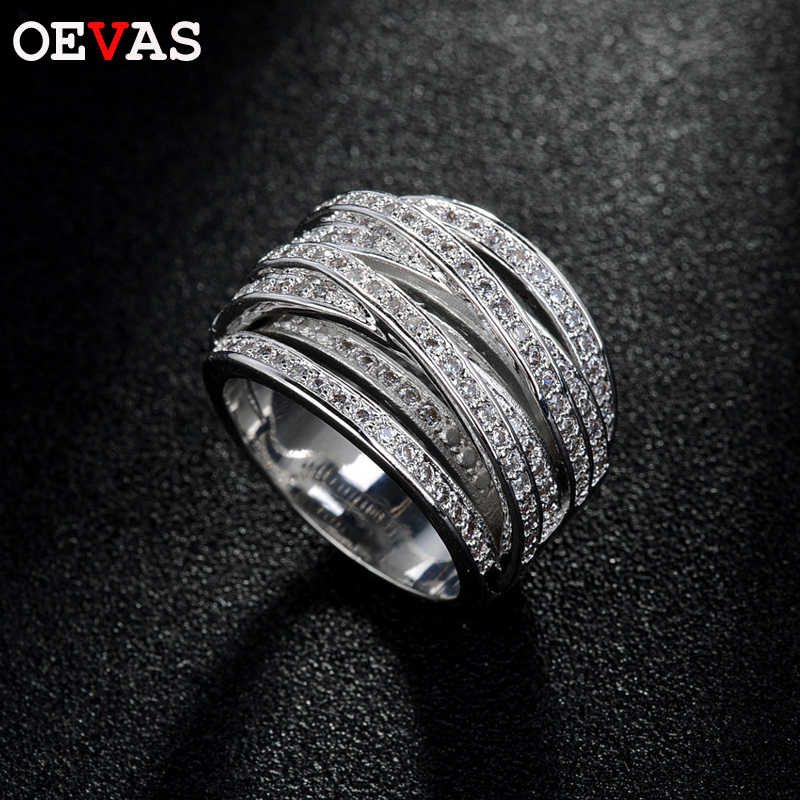 OEVAS Multi-layer Winding Ring Women High Quality AAA CZ Jewelry Silver Color Engagement Wedding Band Rings For Women Bague