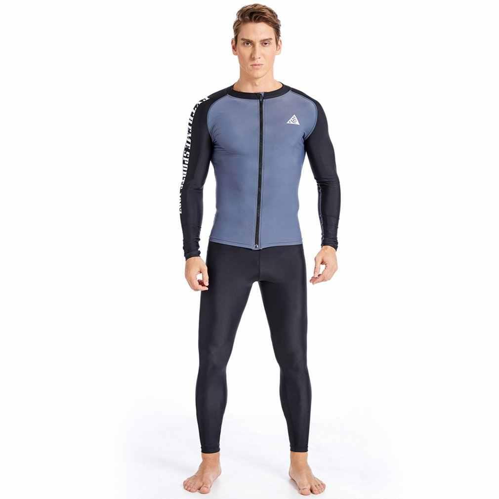 Rits Sneldrogende Mannen Lange Mouw Surf Tops Quick Dry Rash Guards Shirts Duiken Snorkelen Badpak Jassen