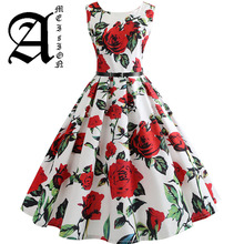New Women Vintage Dress Plus Size Floral Print Pin Up Summer Dresses Retro 50s Rockabilly Party Sundress Feminino Vestidos