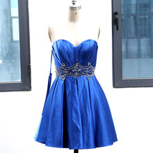 Royal Blue Ball Gown Strapless Knee-Length Crystal Satin Prom Party Formal  Evening Dress M 264023 2f16d4c0b240