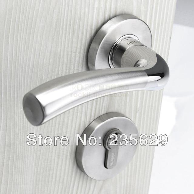 free shipping, bedroom door lock, brushed stainless steel finish