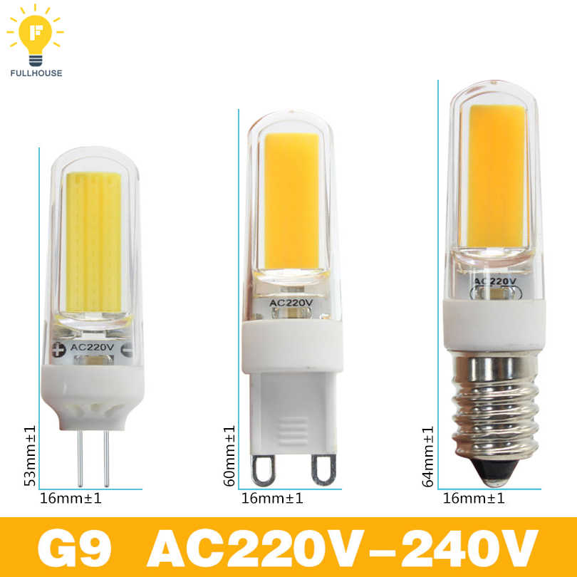 1PCS  LED G4 G9 E14 Lamp Bulb DC 12V AC 220V 9W 6W COB SMD LED Lighting Lights replace Halogen Spotlight Chandelier