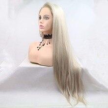 Marquesha Glueless Blonde Ombre Spitze Vorne Perücken Synthetische Realistisch Aussehende Seite Teil Dark Wurzeln Gemischt Farbe