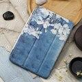 Case for ipad mini 4, orquídea series tri-fold cubierta elegante ultra delgada de la pu leather back case para ipad mini 4