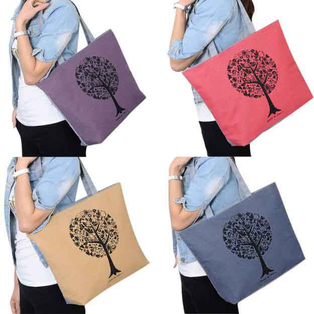 2017 Casual Women Leisure Large Capacity Tote Canvas Shoulder Bag Shopping Bag Beach Bags Fashion Tote Feminina 1