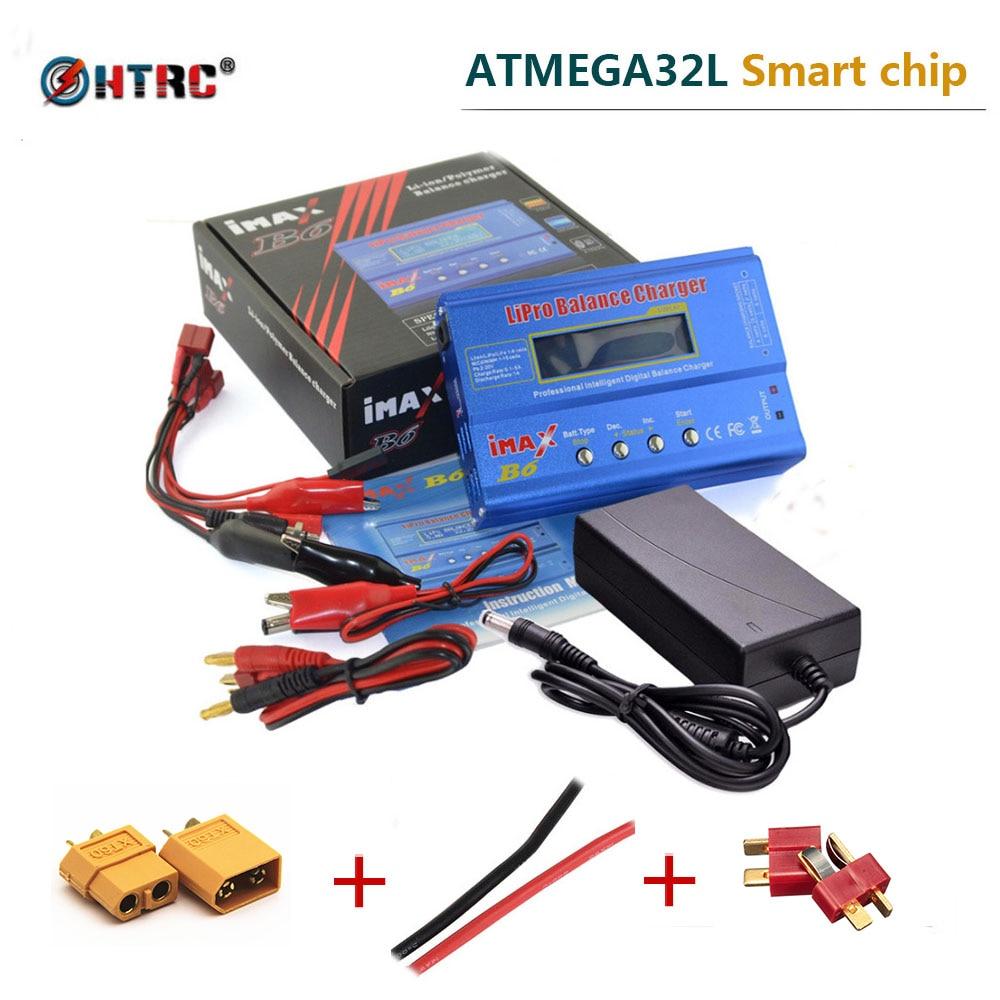 IMAX B6 80 W 6A T Plug RC cargador de equilibrio de batería Lipo NiMh Liion NiCd Pb cargador de batería + 15 V 6A Adaptador + XT60 macho