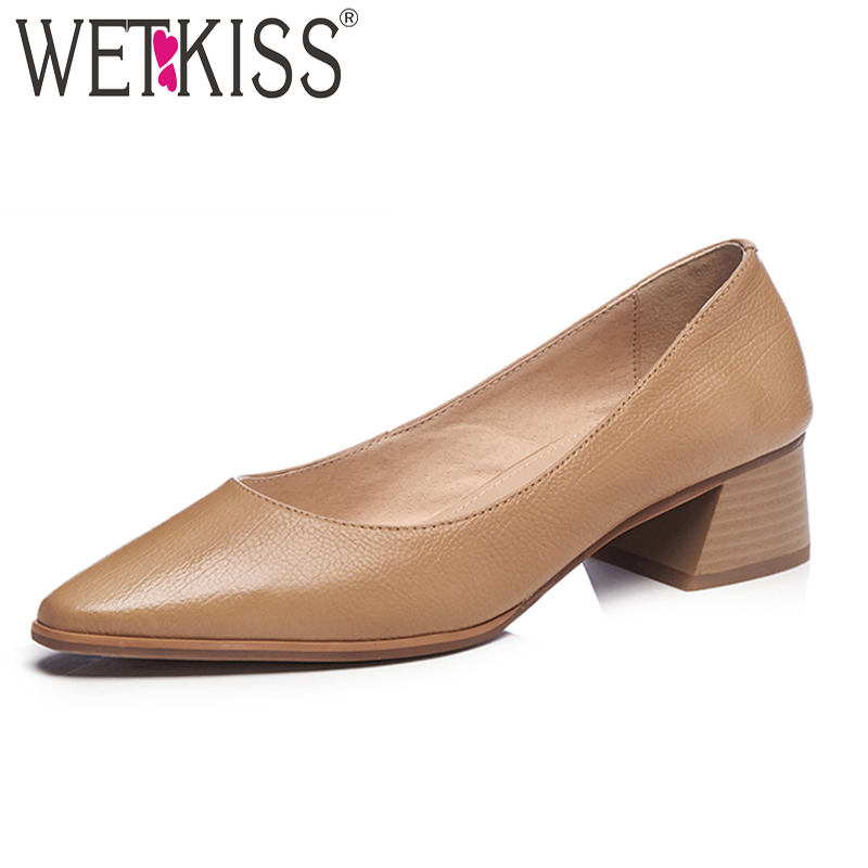 WETKISS Thick Med Heels Women Pumps Pointed Toe Footwear Office Female Shallow Shoes Cow Leather Shoes