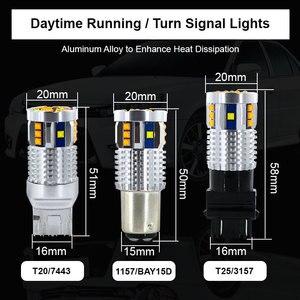 Image 4 - 2Pcs Dual Color 1157 BAY15D P21/5W Led T20 7443 W21/5W Led Bulb T25 3157 P27/7W Car DRL Turn Signal Lamp Auto Lights Bulb 12V