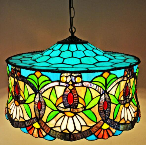 Tiffany Color glass bar Mediterranean pastoral study dining room bedroom lamp Tiffany Bohemia pendant light DF39 16inch tiffany style rose glass pendant light bedroom study color glass lamp e27 110 240v