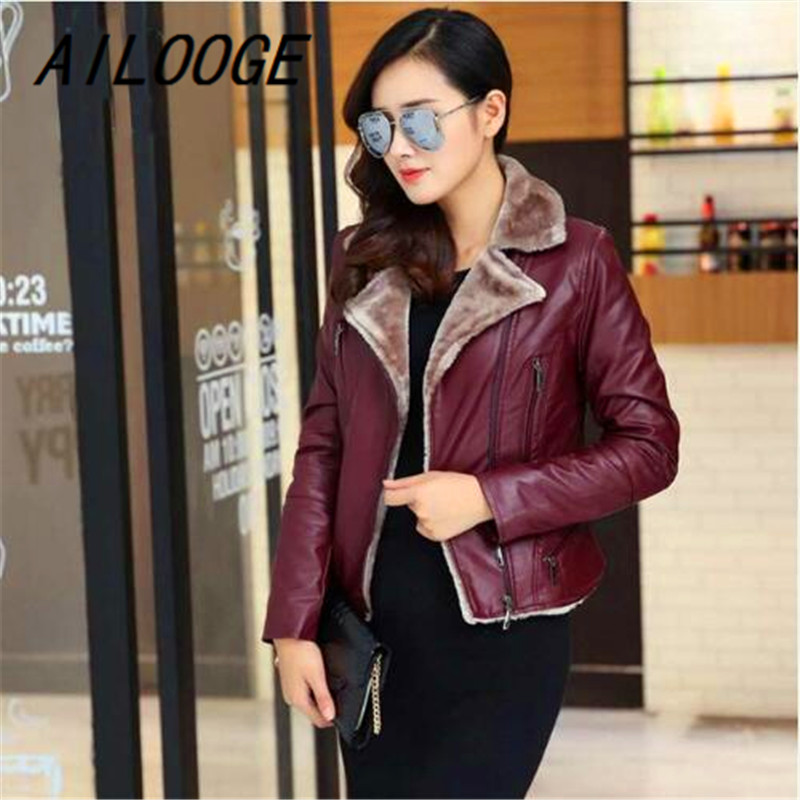 AILOOGE 2017 Faux Pu   Leather   Jacket Women   Suede   Coat Black Lady Outerwear Pu Coats Short Brand Casual Flocking Clothes
