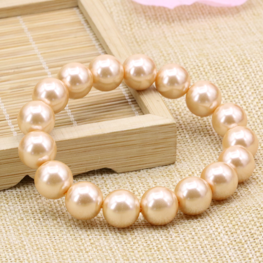New fashion Bohemia style charms bracelet orange simulated-pearl shell round beads 12mm bangle for women jewelry 7.5inch B3173
