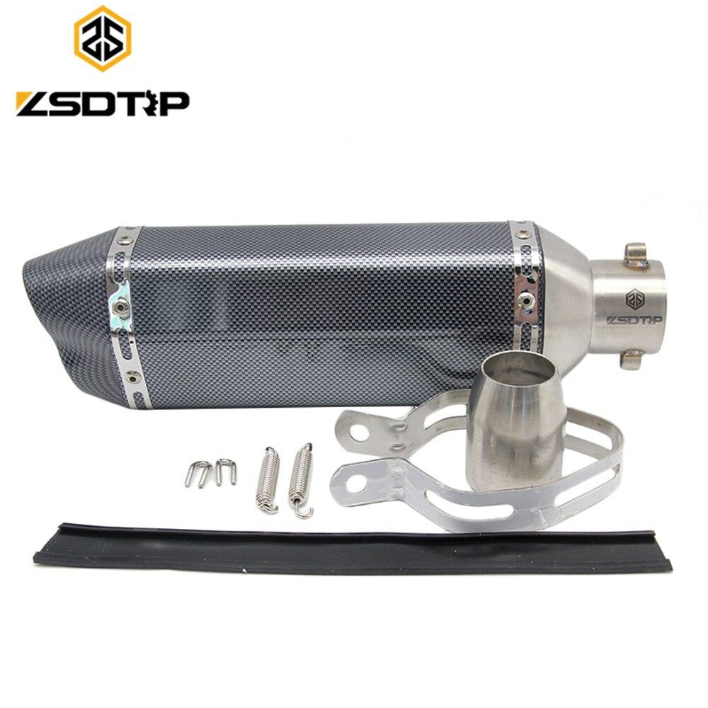 ZSDTRP Double bouche 51mm Universel GY6 Moto Modifiy Akrapovic Silencieux tuyau d'échappement pour HONDA R1 R6 ZX-6R ZX-10R GSXR