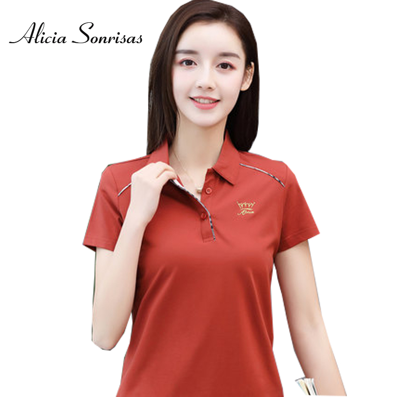 Polo Shirt Women Short Sleeve Pure Cotton Loose Plus Size M-4XL Clothes For Women Camisas Mujer 6 Colors