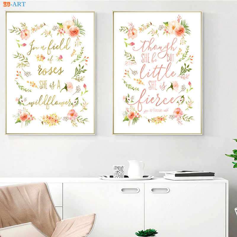 Fl Peach Pink Poster Watercolor Painting Canvas Quotes Prints Nursery Wall Art Baby Room Home Decoration