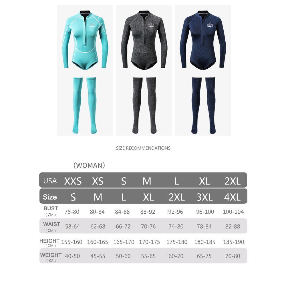 2019 New 2mm Diving Wetsuit for Women Long Sleeve Female Wetsuit Neoprene Anti UV Keep Warm with Long Socks Swimwear Diving Suit in Wetsuit from Sports Entertainment