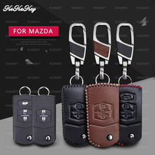 цена на KUKAKEY Leather Car Key Case Cover For Mazda 2 3 5 6 CX5 CX-5 M2 M3 M5 M6 Smart Remote Car Protection Shell Accessories
