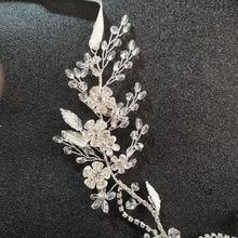 SLBRIDAL Handmade Silver Clear Crystal Rhinestone Floral Leaf Wedding Hair accessories Hair Vine Bridal Headband Women Jewelry