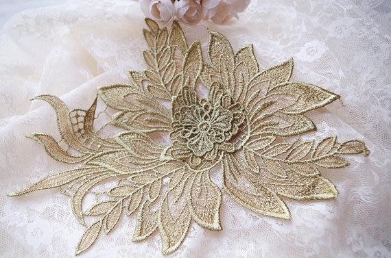 fém arany csipke rátétekkel, arany bazsarózsa csipke - Művészet, kézművesség és varrás