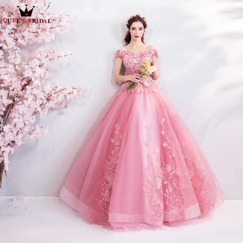 Pink Color Wedding Gown: Ball Gown Pink Color Tulle Flowers Beaded Luxury Foraml