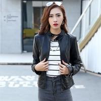 DoreenBow New Lady Fashion PU Jackets Spring Autumn Women Black Moto Biker Style Zipper Buttons Stand