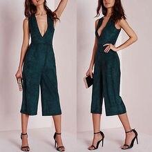 Новые Женская Клубная одежда V шеи комбинезон Bodycon партия комбинезон боди брюки размеры S-XL