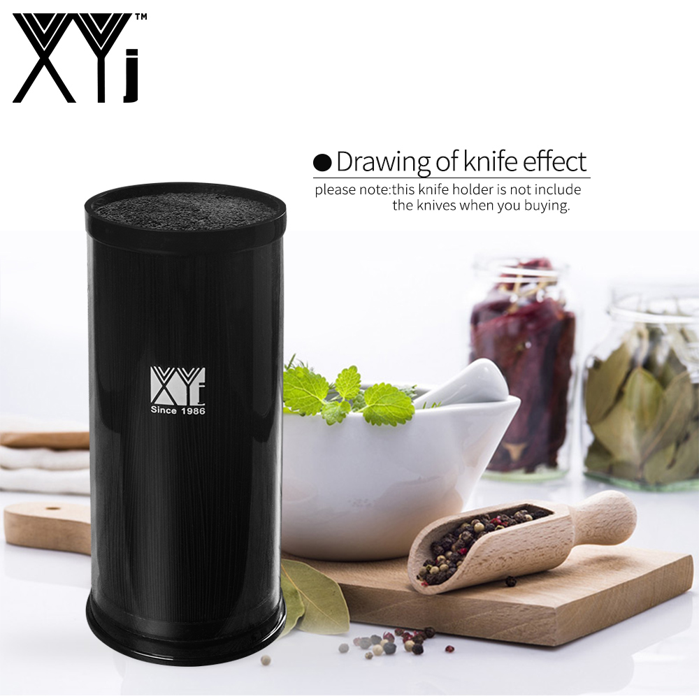 XYj Ceramic Stainless Steel Damascus Steel Kitchen Knife Tool Holder Multifunctional PP+Acrylic Brush Cooking Knife Block Stand